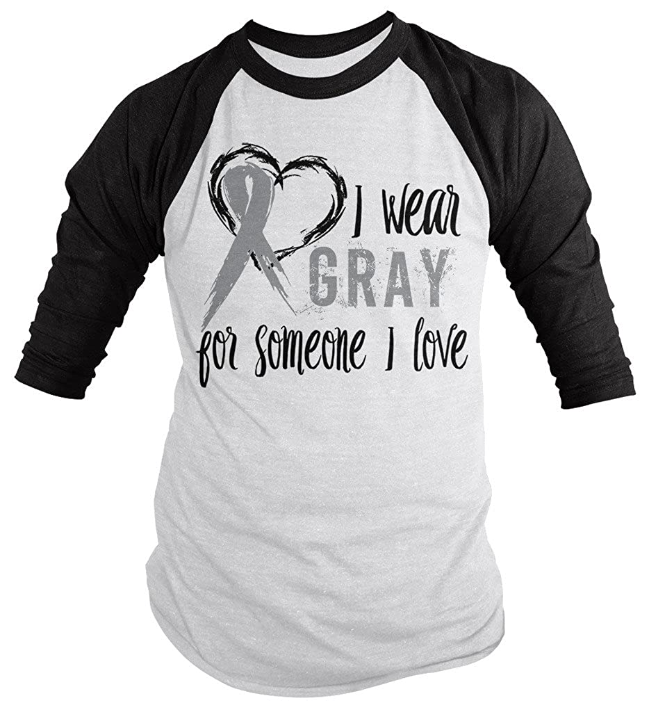 Amazon com shirts by sarah mens wear gray someone i love 3 4 sleeve brain cancer asthma diabetes awareness ribbon clothing
