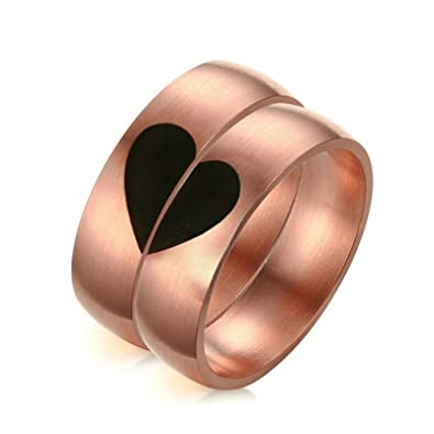 Aooaz 2 X Rose Gold Plated Stainless Steel Heart Ring Couples Rings Set Engraved 6MM Women
