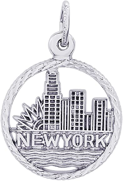 Rembrandt Charms Two-Tone Sterling Silver New York Liberty Charm on a Sterling Silver 16 18 or 20 inch Rope Box or Curb Chain Necklace