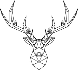 "Vinyl Wall Art Decal - Geometric Deer Head - 23"" x 26"" - Home Decor for Living Room Bedroom Boys Room - Peel and Stick Stencil Sticker Decals (23"" x 26"", Black)"