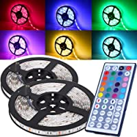 Ezonedeal 16.4FT SMD 5050 Waterproof 300LEDs RGB Flexible LED Strip Light Lamp Kit + 44Key IR Remote Controller(Power…