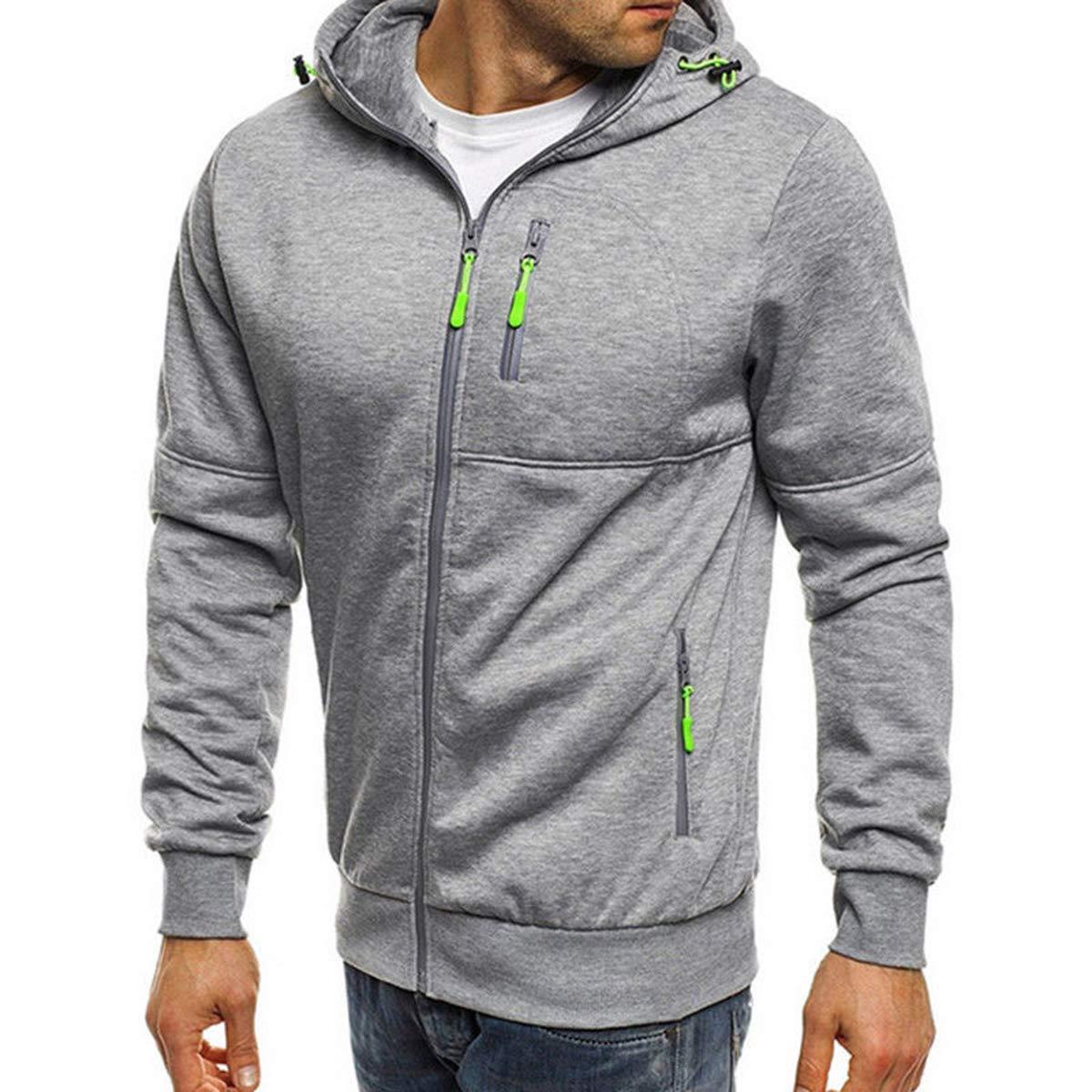Asrlet Mens Long Sleeve Slim Fit Zip-up Fleece Hoodies Hooded Sweatshirt Coat Outerwear