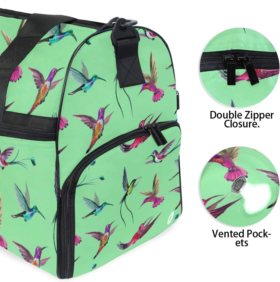AHOMY Colorful Hummingbird Sports Gym Bag with Shoes Compartment Travel Duffel Bag