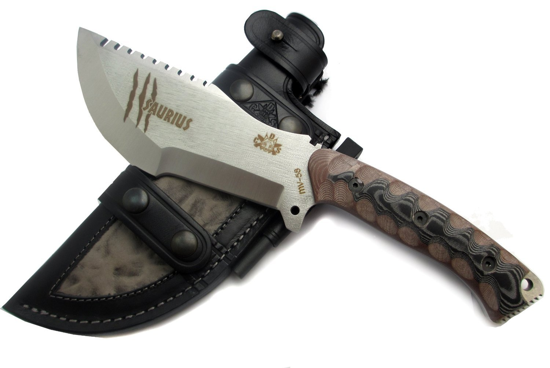 SAU-BEAST Premium Outdoor / Survival / Hunting Knife - Micarta handle, Stainless Steel MOVA-58, Genuine Leather Multi-position Sheath + Firesteel. Made in Spain.