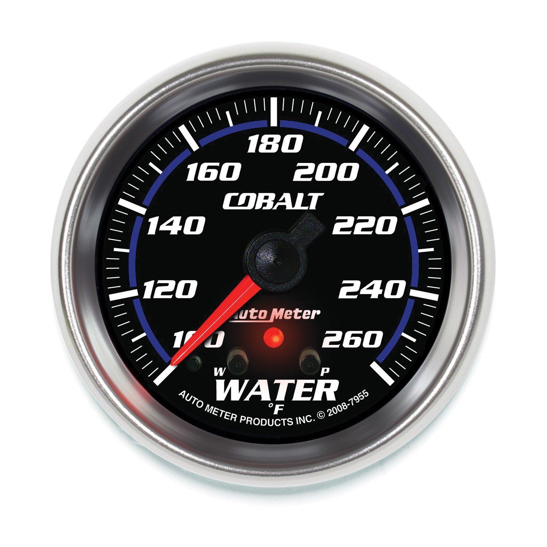 Auto Meter 7955 Cobalt 2-5/8'' 100-260 Degree F Full Sweep Electric Water Temperature Gauge with Peak Memory and Warning