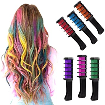 IVYRISE 6PCS Hair Chalk Comb Temporary Color Non-Toxic Makeup Hair Coloring  Chalk Comb DIY Dye...