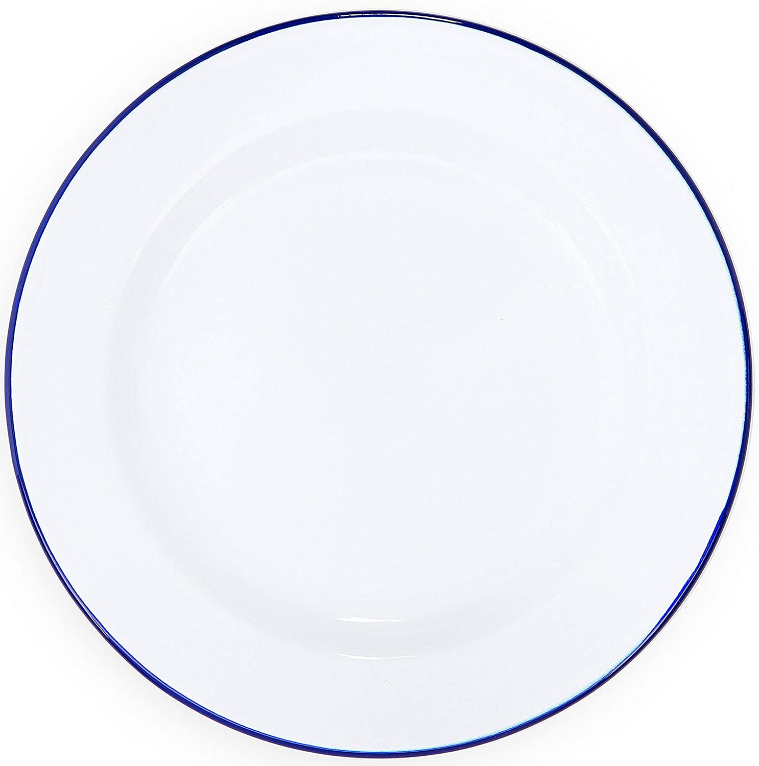 Enamelware Dinner Plate -Solid White with Blue Rim
