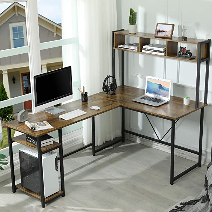 Sedeta 70 Inch Reversible L-Shaped Desk with Storage Shelves, Industrial Corner Computer Desk with Hutch, Large Home Office Writing Desk with Bookshelf & CPU Stand, Rustic Brown   Amazon
