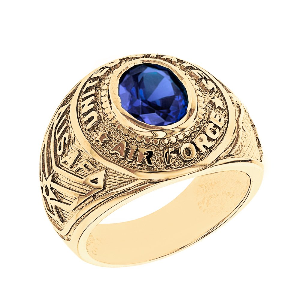 Solid 14k Yellow Gold September CZ Birthstone US Air Force Men's Ring (Size 13)