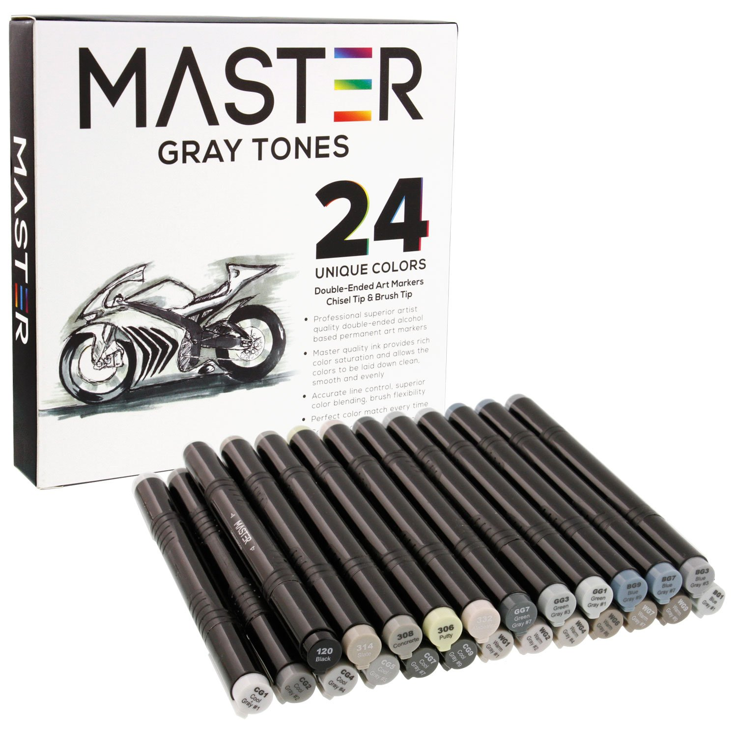 24 Color Master Markers Gray Tones Dual Tip Set - Double-Ended Grayscale Art Markers with Chisel Point and Standard Brush Tip - Soft Grip Barrels - Draw, Sketch, Shade, Illustrate, Render