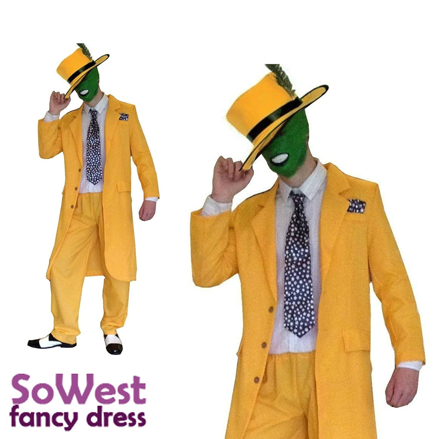 80s 90s Yellow Gangster Zoot Suit The Mask Jim Carrey Costume ...