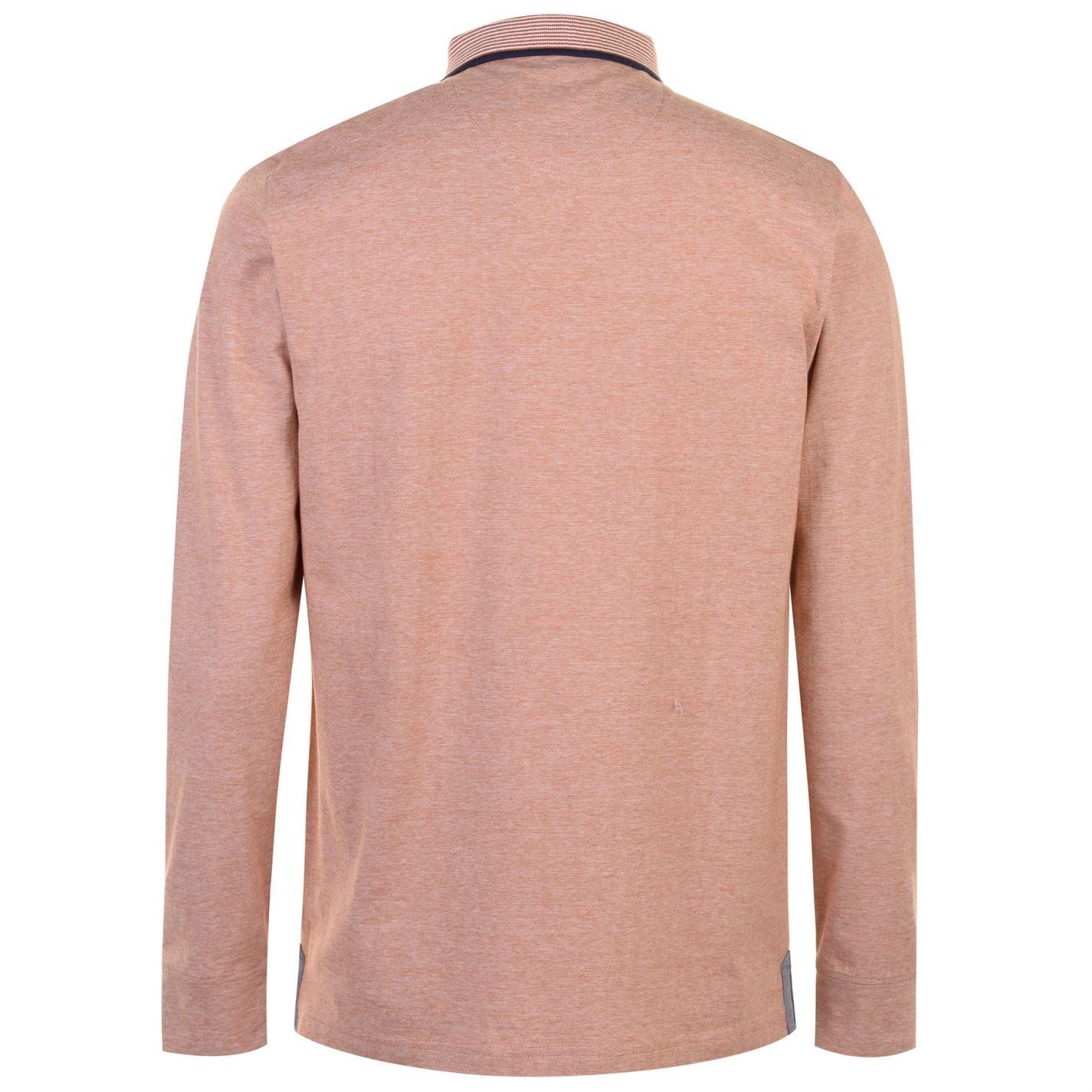 Pierre Cardin Hombre Yarn Dye Camisa Polo Manga Larga Rust/Blanco ...