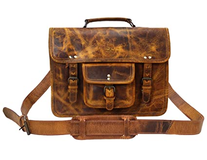 Image Unavailable. Image not available for. Color  15 Inch Leather Vintage  Rustic Crossbody Messenger Satchel Bag Gift Men Women ~ Business Work  Briefcase aa9c1e81b0