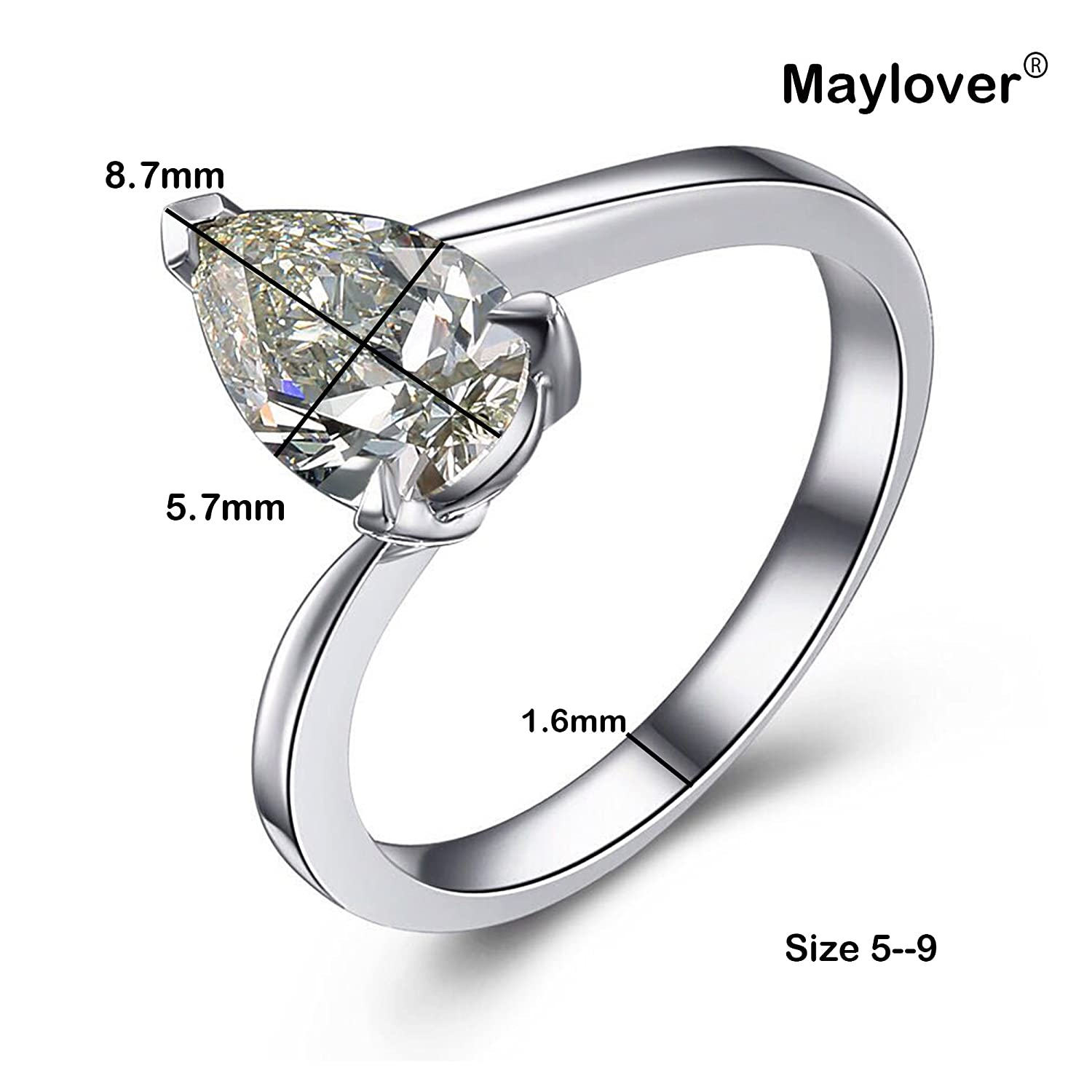 084cc48ac8a41 Maylover Promise Ring for 14k White Gold Plated s925 Sterling Silver 3  Prong AAA Pear Shape Cubic Zirconia Crystal Wedding Band Ring for Women,  Size ...