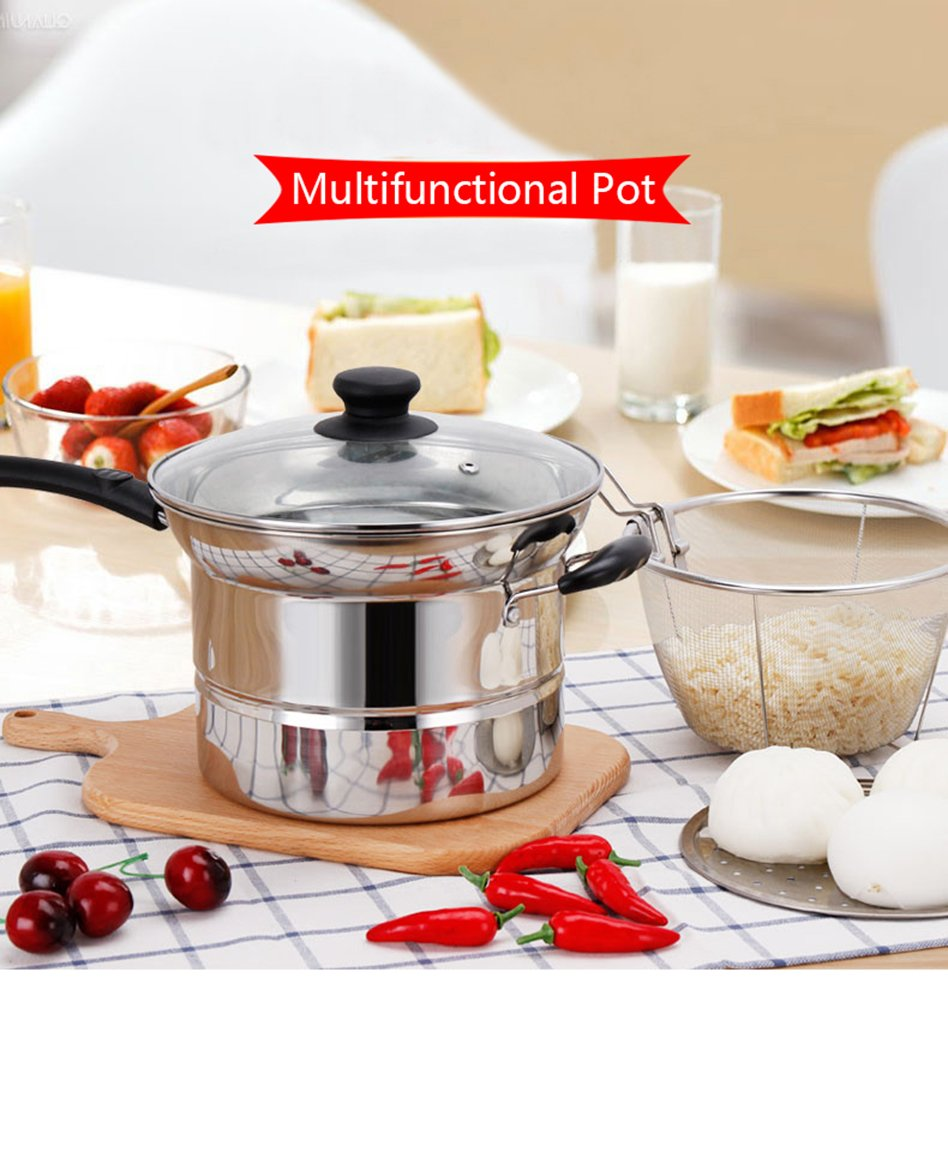 4-piece Pasta Pot Set,Sauran Stainless Steel Durable Sauce Pot with Steamer and Strainer Insert,Multi-purpose Pots with Double-bottom by Sauran (Image #8)