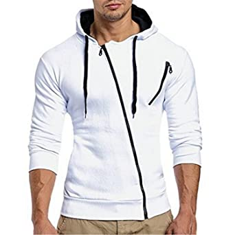 Amazon.com: JIANGTAOLANG Men Sweatshirt 3d hoodies Oblique zipper Hoodie Sweatshirt Slim Fit Sudaderas: Books