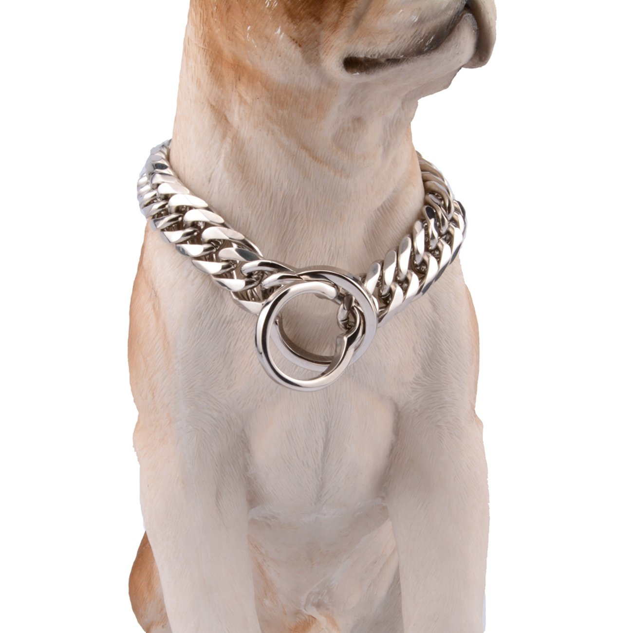 14inch recommend dog's neck 10inch Innovative jewelry 16mm Stainless Steel Silver Heavy Dog Choke Curb Chain Collar Pet Necklace Strong Big Breeds,14-34 (14 )