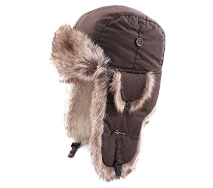 f5e8fb50e97 Herman Chapka Imper Unie Trapper Hat Size 57 cm Brown at Amazon Men s  Clothing store