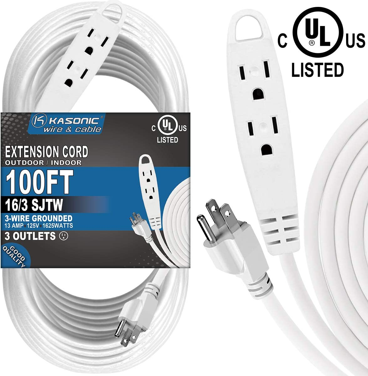 100-Feet 3 Outlet Extension Cord, Kasonic UL Listed, 16/3 SJTW 3-Wire Grounded, 10 Amp 125 V 1625 Watts, Multi-Outlet Indoor/Outdoor Use