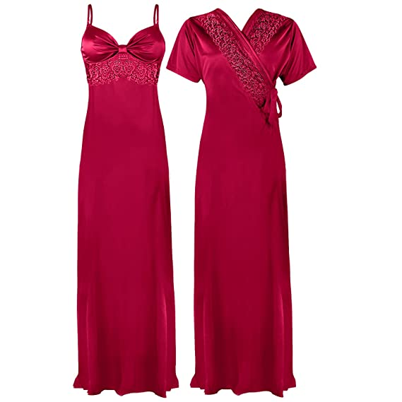 ce702a03f6 The Orange Tags Ladies Satin Lace Long Nightdress Nighty Chemise Embroidery  Detailed Size 8-18  Amazon.co.uk  Clothing