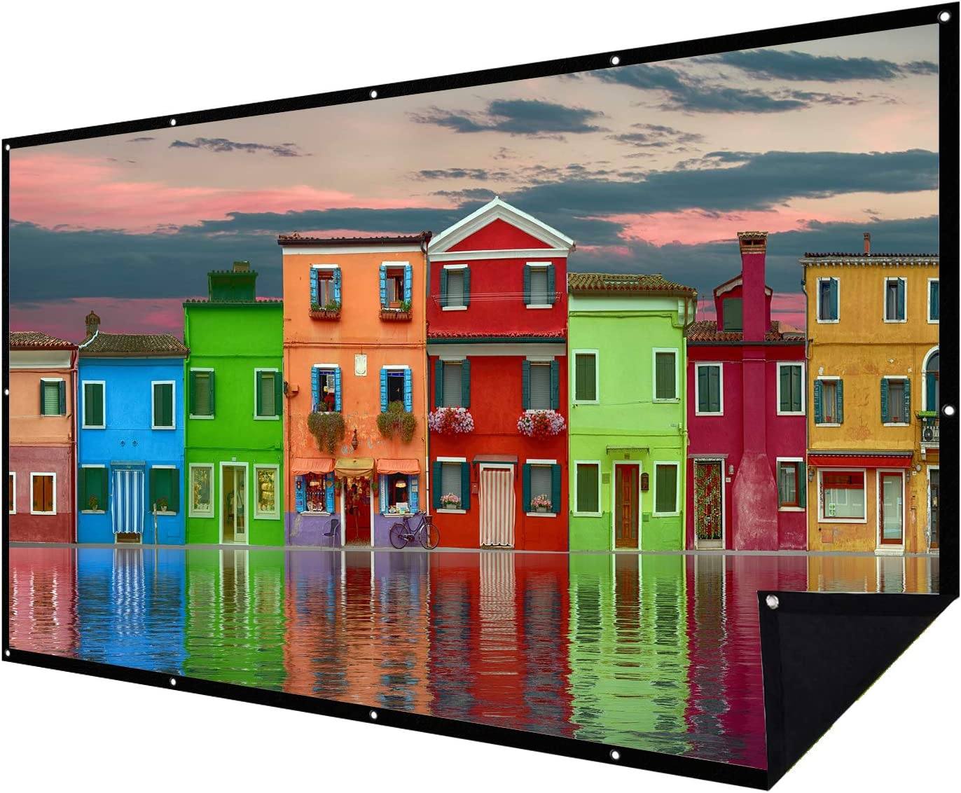 Double Layer Projector Screen 100 inch 16:9 Portable Projection Movie Screen 3D with No Light Transmission for Home Theater Outdoor Indoor Office with 15 Nails No Crease