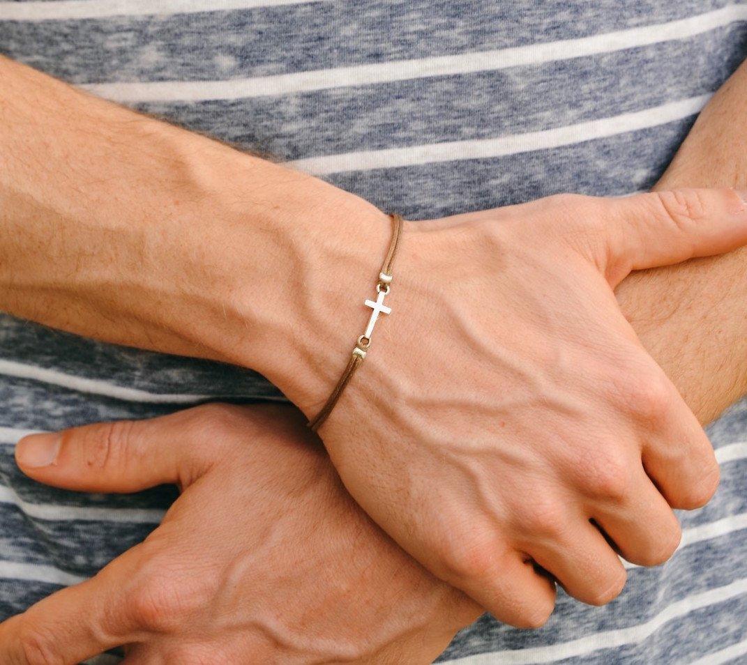Cross bracelet for men, Birthday gift, men's bracelet with a silver cross pendant, brown cord, gift for him, christian catholic jewelry