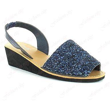 3a083f85b5d0 New Nova Ella Sandal Slingback Comfort Wedge Heel Sparkly Glitter Shoes  Size 3-8 (UK   7