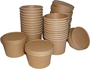 Eco Friendly Recycle and Compostable Food Containers Soup Cup Bowl Combo Pack of 12-(8oz) & 12-(12oz) with Vented Lids | For To Go, Restaurants, Take Out