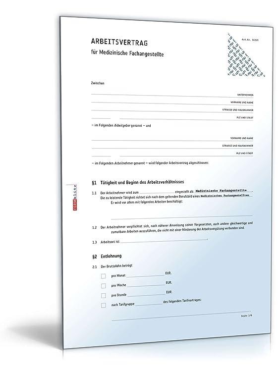 Arbeitsvertrag Medizinische Fachangestellte Word Dokument