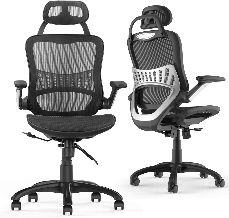 Black, 20 altezza regolabil poggiatest schienal in rete sedia da scrivania girevol direzional Komene Sedia da uffici ergonomica con bracciol pieghevol