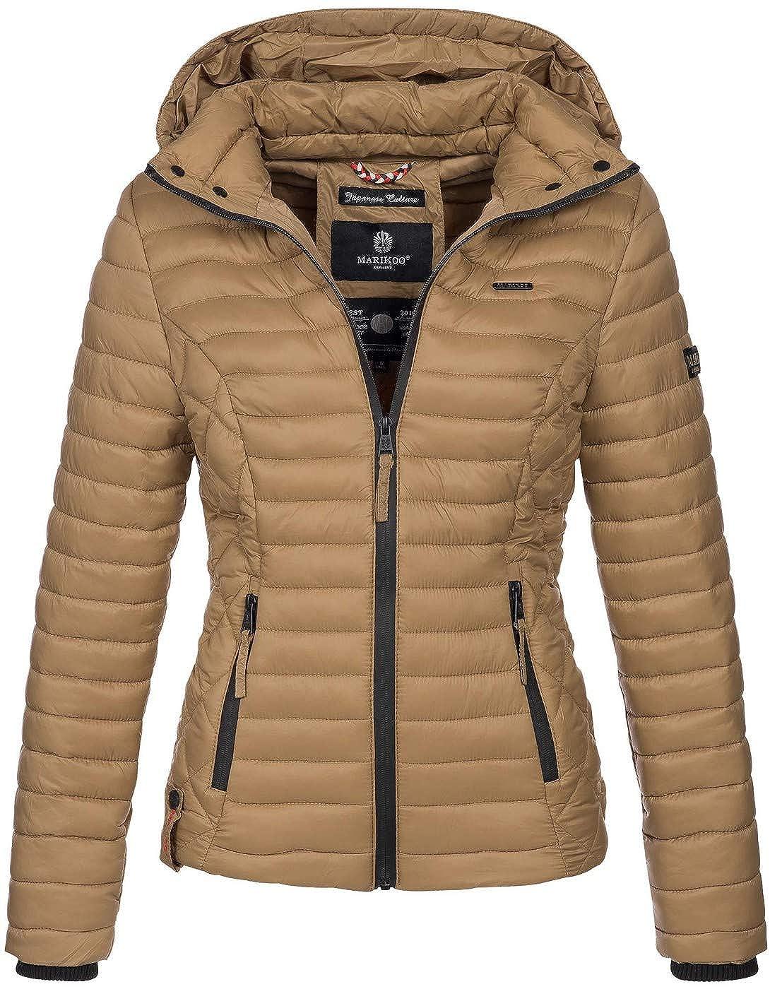 Marikoo Damen Jacke Steppjacke /Übergangsjacke mit Kapuze gesteppt B600