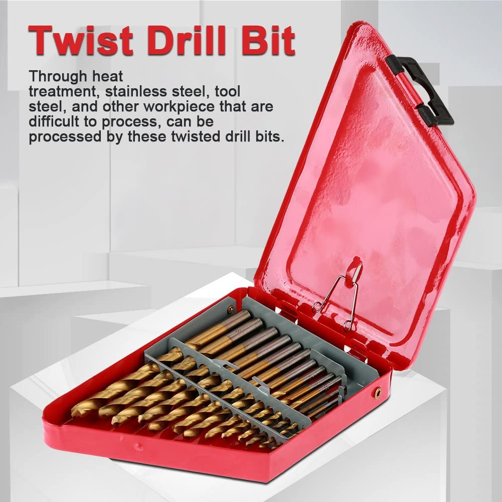 13Pcs Twist Drill Bits Assortment Set High Speed Steel Screwdriver Drilling Tools with Round Handle and Red Storage Box