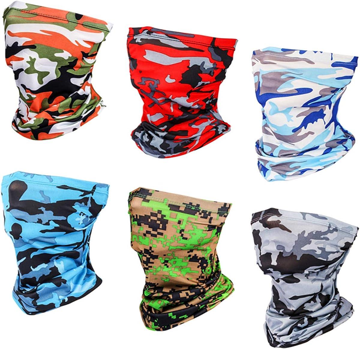 6 Pieces Sun UV Protection Face Mask Cooling Neck Gaiter Balaclava Bandana Scarf