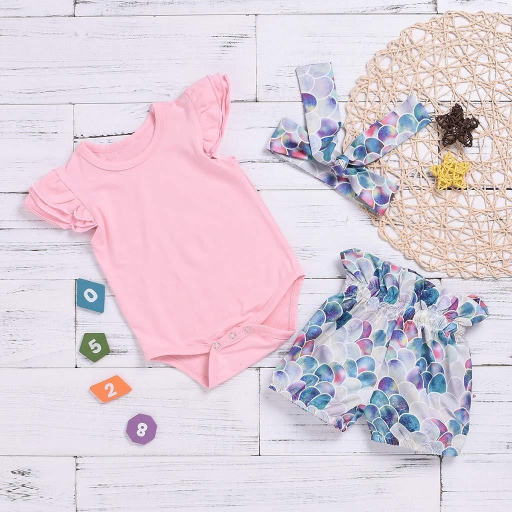 Toddler Newborn Kids Baby Girls 3Pcs Outfits Clothes,Ruffles Romper Tops+Fish Scale Print Shorts+Hadband Sets
