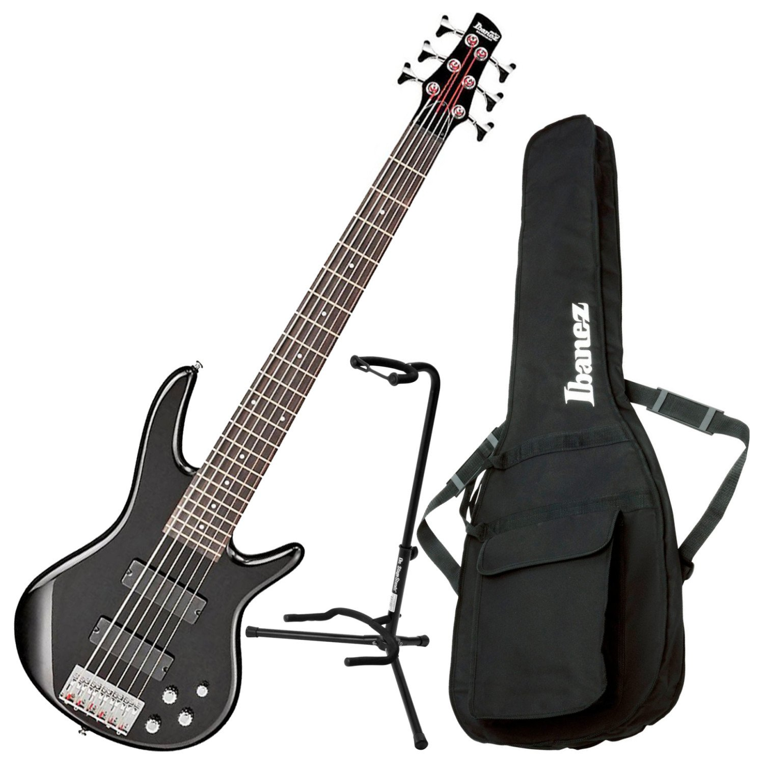 Ibanez GSR206 6 String Electric Bass Black w/ Gig Bag and Stand GSR206 BUNDLE