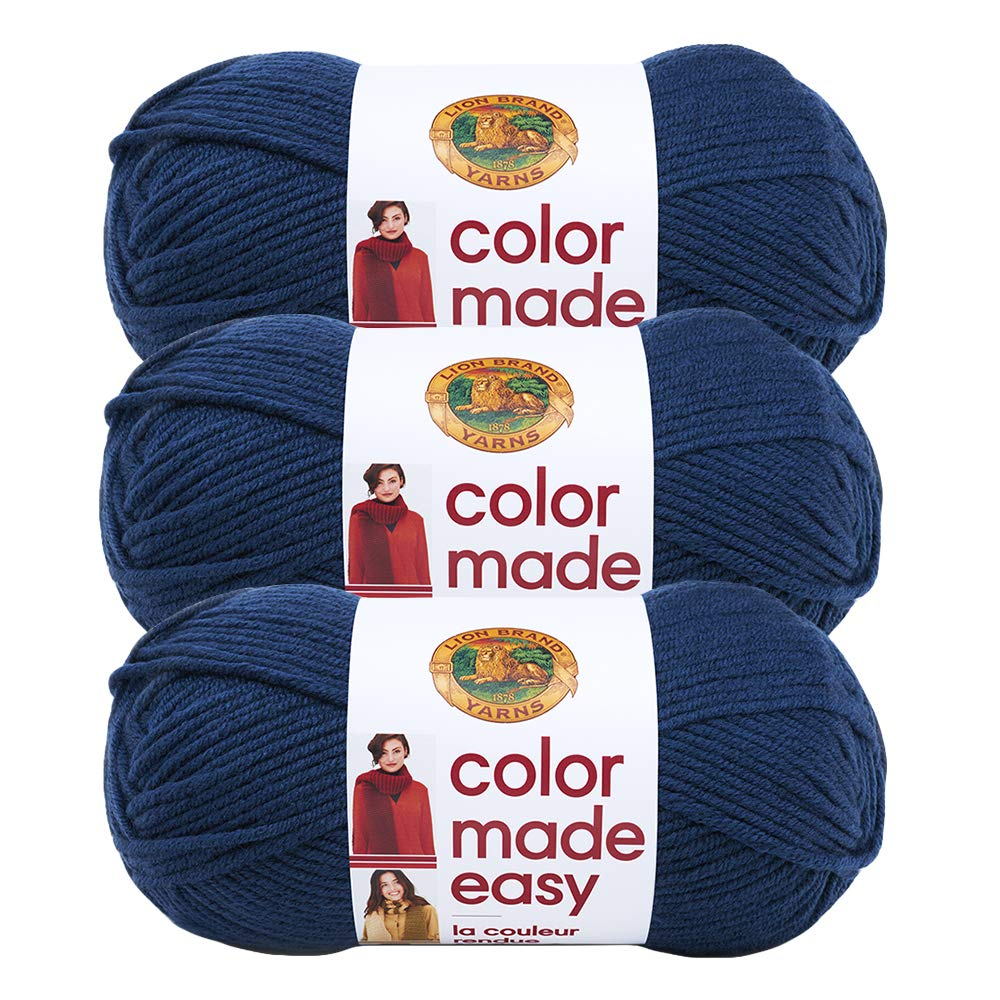 (3 Pack) Lion Brand Yarn 195-110AM Color Made Easy Yarn, Huckleberry