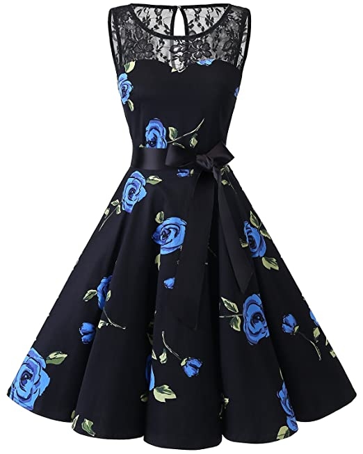 Bbonlinedress Vestido Mujer Corto Fiesta Boda Encaje Sin Mangas Black Blue BRose XS