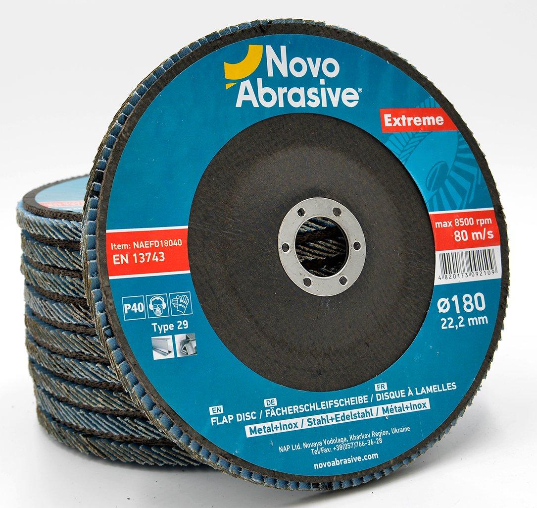 Plastics Universal Ferrous Metals Cast Iron NOVOABRASIVE Premium Flap Disc 115mm Grit 120 PACK OF 10 PCS Wood Abrasive Sanding Discs for Angle Grinders Ideal For Stainless Steels