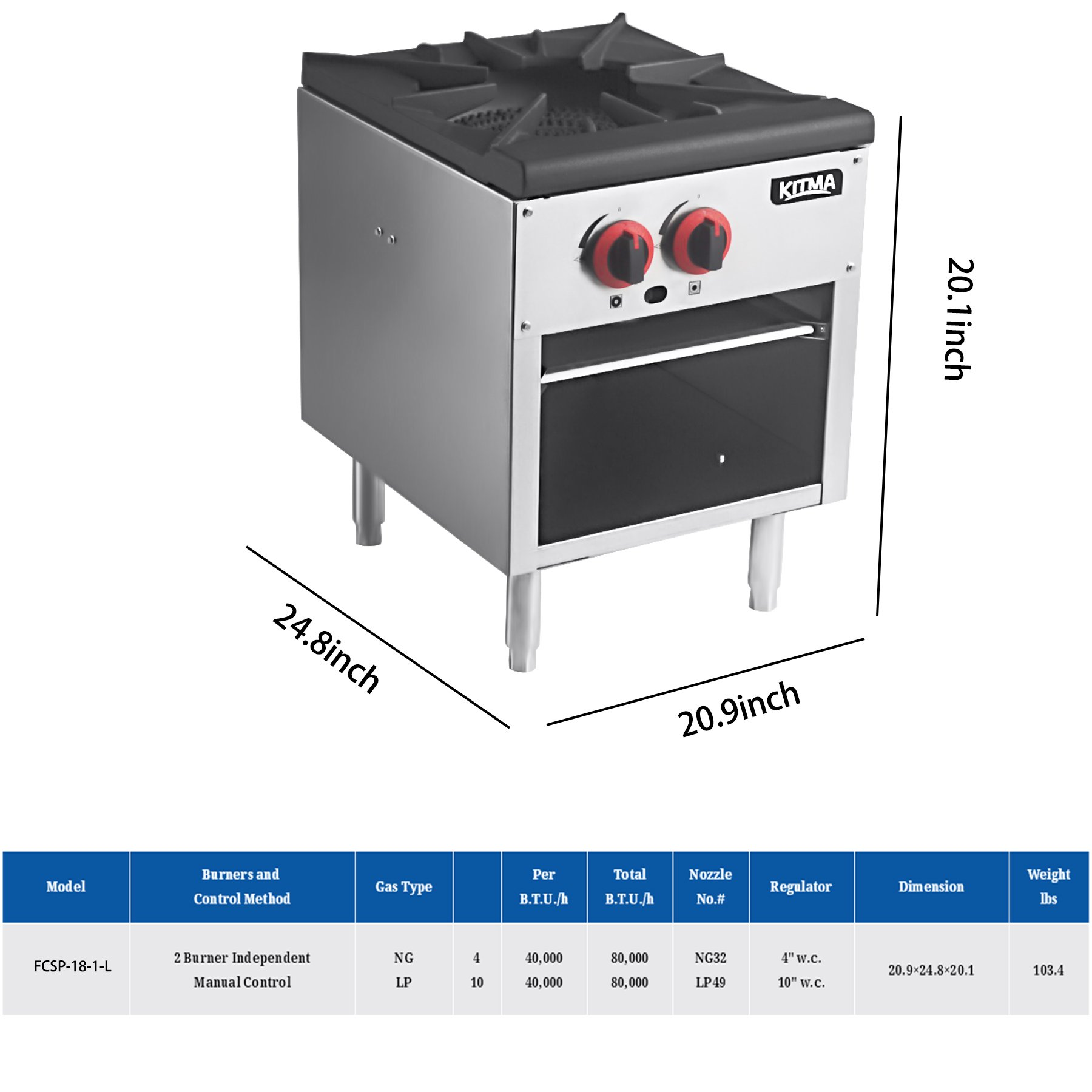 18 Inches Single Stock Pot Stove - KITMA Natural Gas Countertop Stock Pot Range with 2 Manual Controls - Restaurant Equipment for Soups by Kitma (Image #2)