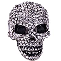 YACQ Women's Crystal Skull Pin Brooch with Moving Jaw Biker Jewelry Costume Accessories
