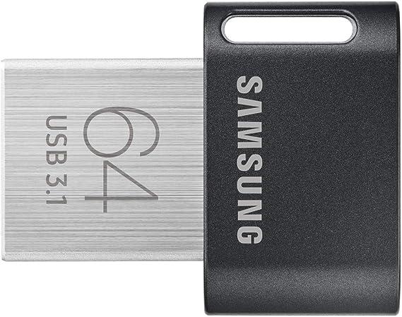 Samsung MUF-64AB lecteur USB flash 64 Go USB Type-A 3.1 (3.1 Gen 1) Noir, Acier inoxydable - Lecteurs USB flash (64 Go, USB Type-A, 3.1 (3.1 Gen 1), Pivotant, 3,1 g, Noir, Acier inoxydable)