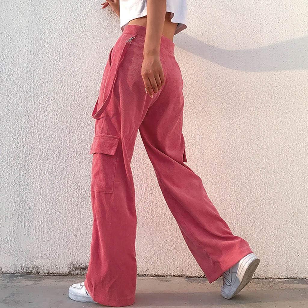 Hosen Damen Kolylong/® Frauen Elegant Fr/ühling und Herbst High Waist Cargohose mit Tasche Jogginghose Freizeithose Lang Weites Bein Hosen Yoga Hose Trainingshose Streetwear Legging