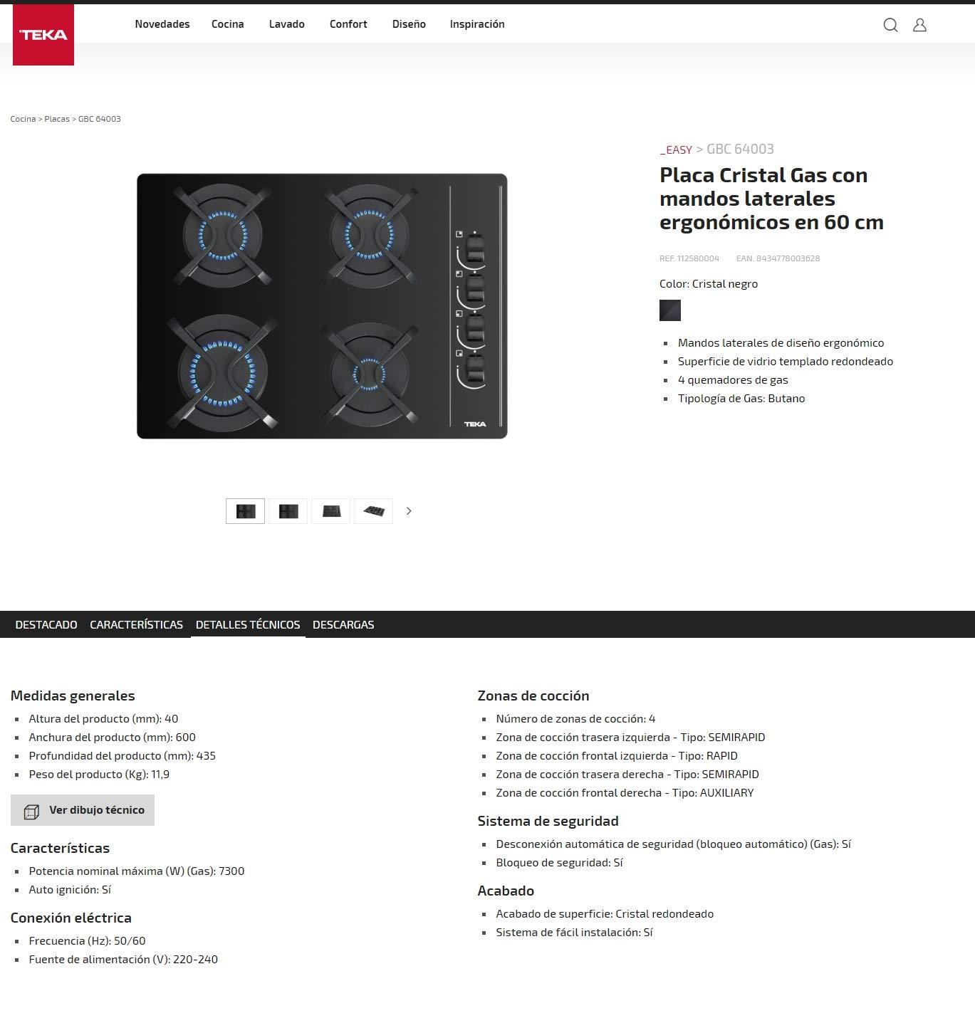 Teka | Placa Cristal Gas de 60 cm con mandos frontales ergonómicos | 4 x 60 x 43.5 cm | Eficiencia Energética: Amazon.es: Grandes electrodomésticos