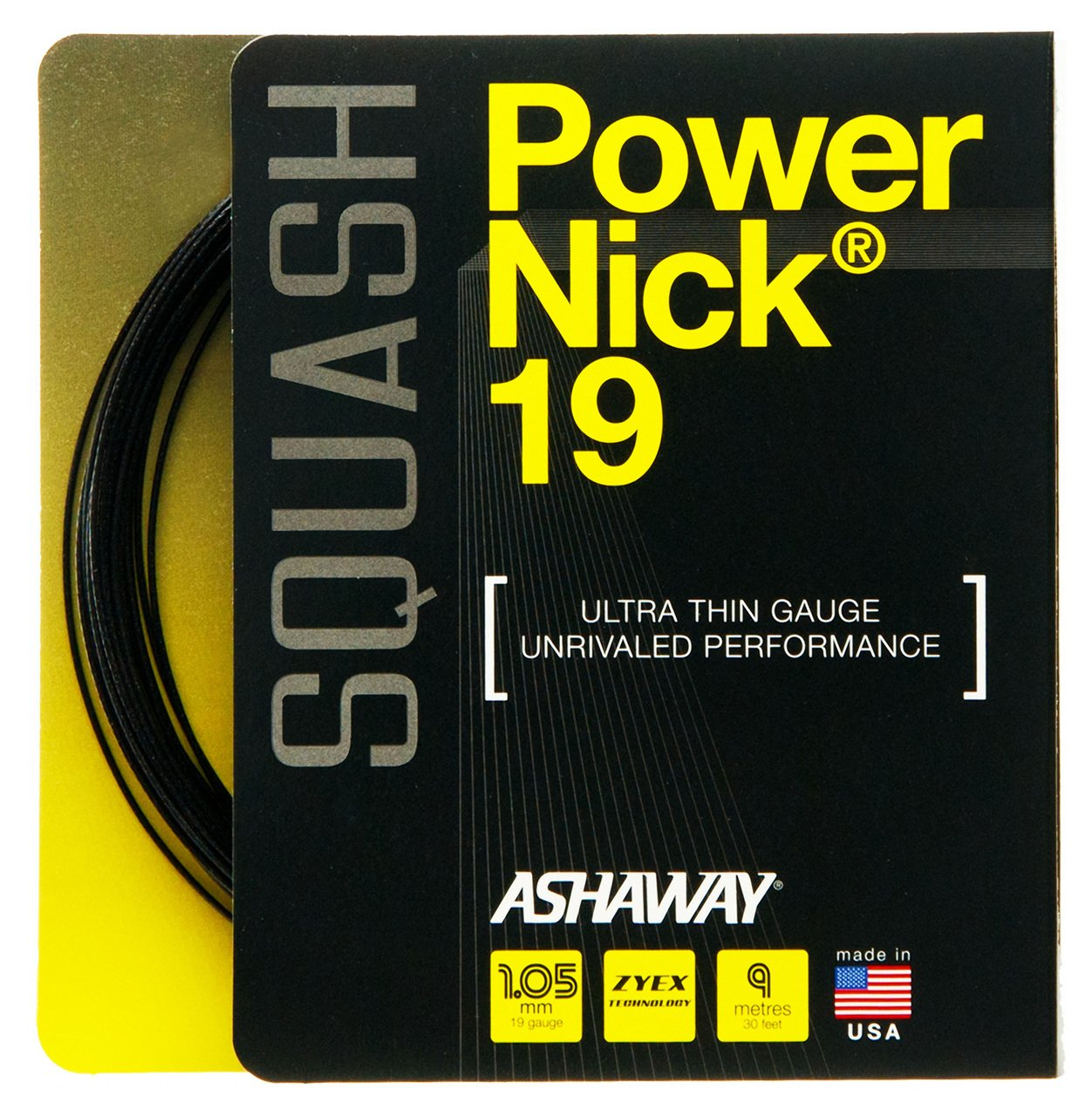 Ashaway PowerNick 19 Squash String Set - Black