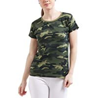 WYO Women's Camouflage Army Solid Plain Top T-Shirt