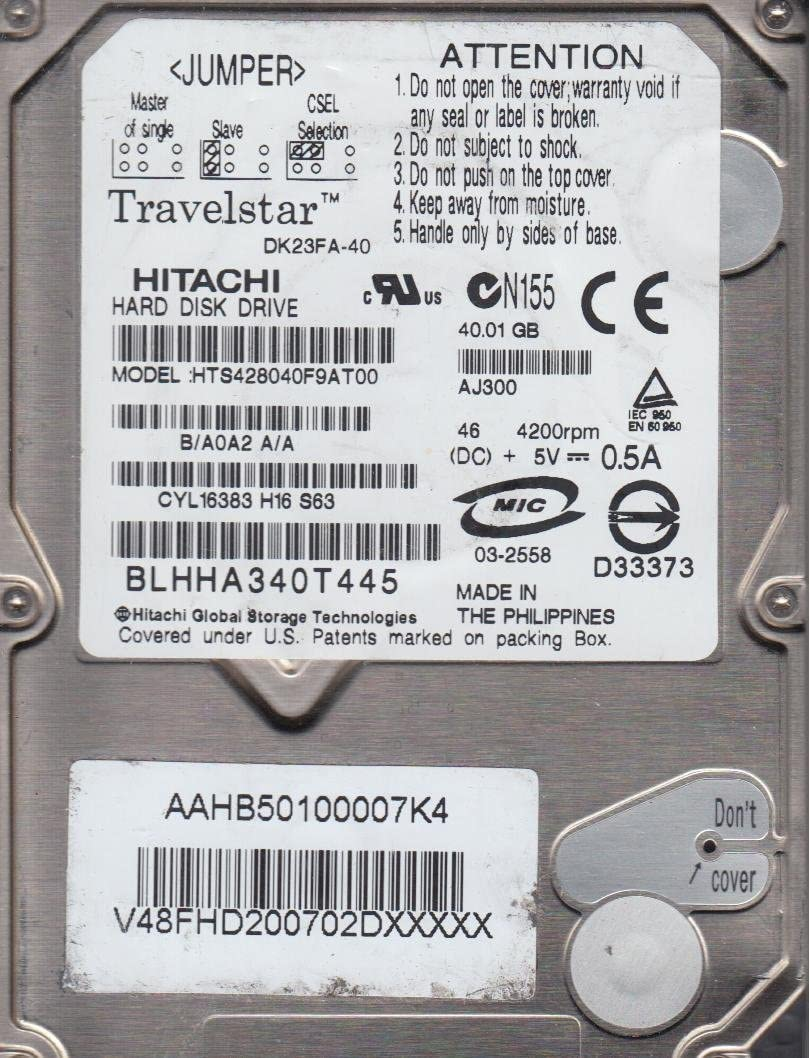 Hitachi Hts428040F9At00 40Gb Ide 2.5 Ata-100