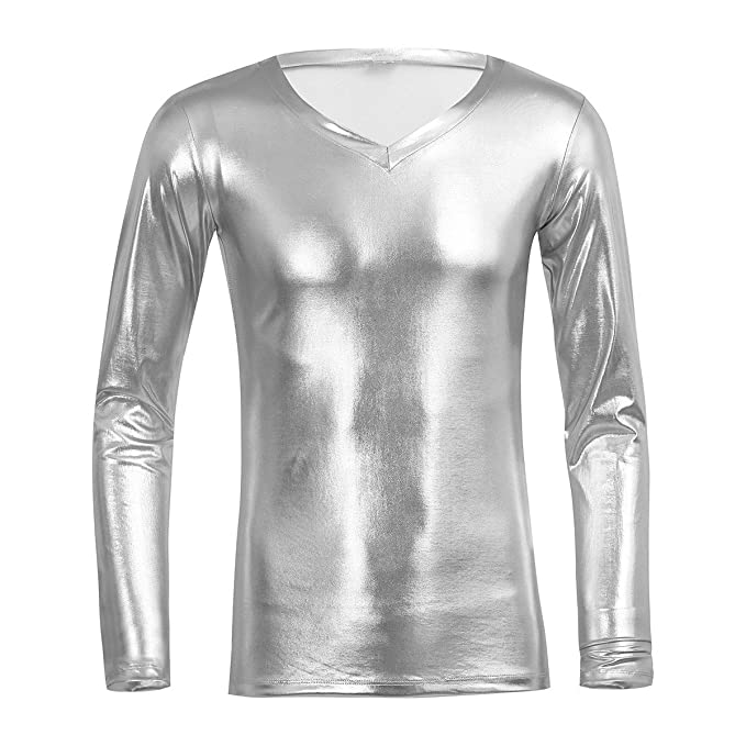 FEESHOW Hombres Camisetas de Manga Larga de Charol Brillate Sexy Latex Ropa Blusa Hombre Cuello en