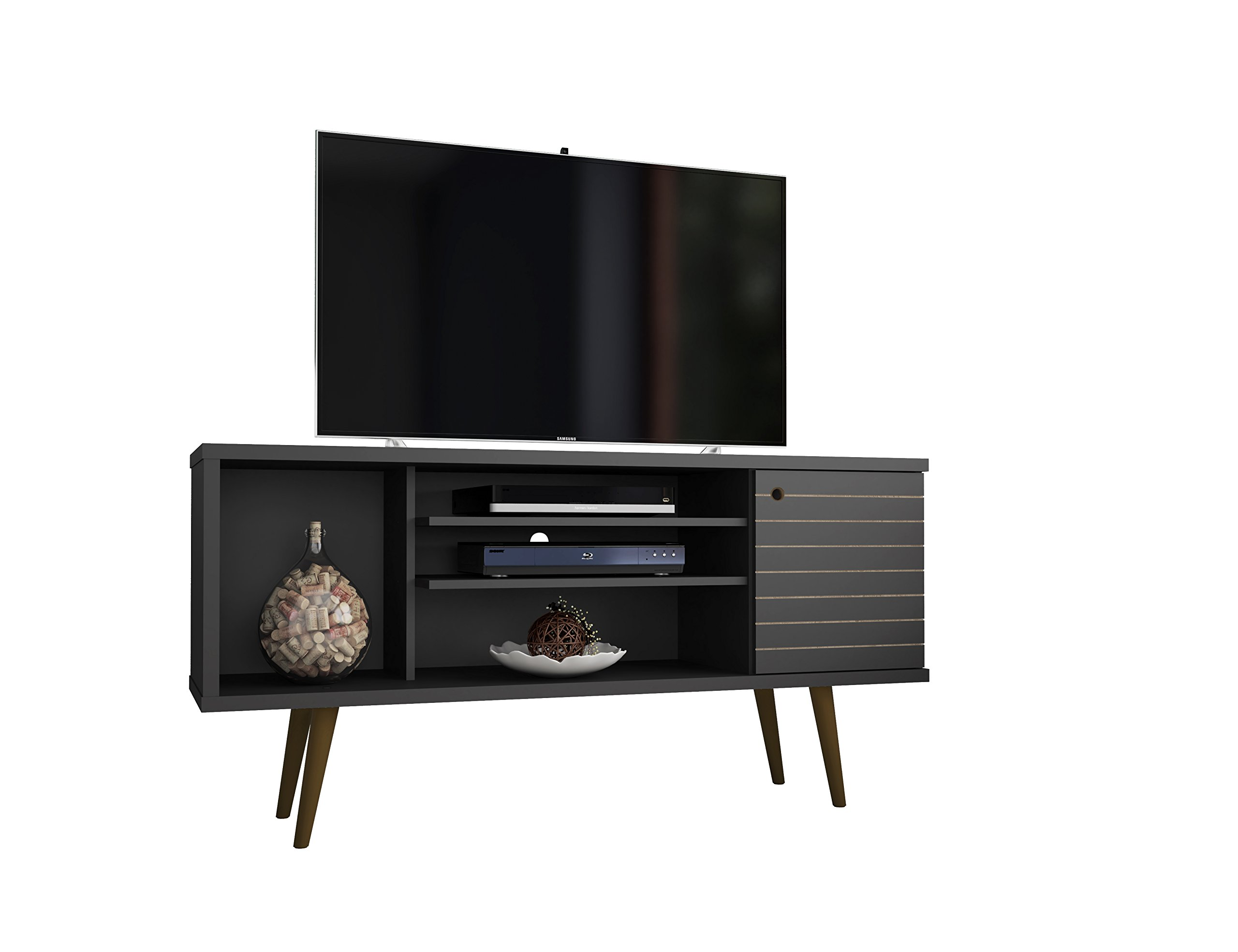 ModHaus Living Mid Century Modern TV Stand Media Cabinet with 5 Shelves 1 Door and Solid Wood Legs - Includes Pen (Black) by ModHaus Living