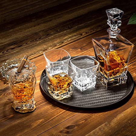 KANARS WD03 Jarra de Whisky, 5 Piezas, 100% Libre de Plomo Cristalino Resistente Botella de Whisky Set para Scotch, Bourbon,800ml Decantador y 4 Vasos de Whisky 300ml, Caja de Regalo de Lujo