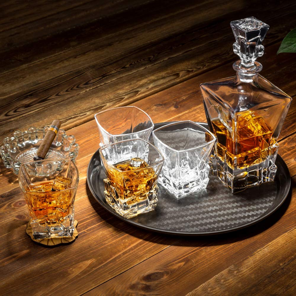 KANARS Iceberg Whiskey Decanter Set With 4 Glasses In Luxury Gift Box - Original Lead Free Crystal Liquor Decanter Set For Scotch or Bourbon, 5-Piece by KANARS (Image #6)